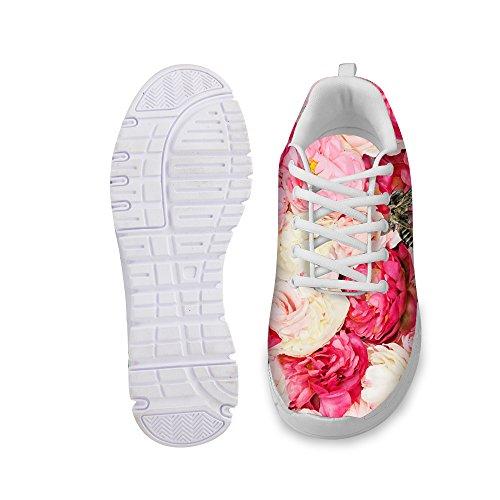 FOR U DESIGNS Vintage Rose Floral Print Womens Fashion Sneaker Comfortable Walking Running Shoes Pink D cKu50RiUn