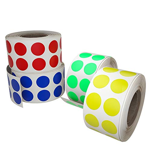 Color code stickers dots labeling - Colored labels rolls in 13mm 0.50 inch - 4320 Pack by Royal Green by Royal Green