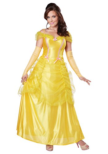 California Costumes Women's Classic Beauty Fairytale Princess Long Dress Gown, Yellow, Small (Belle Dress Adult)