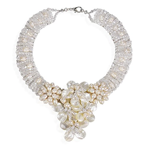 Floral Purity Mother of Pearl and Cultured Freshwater Pearl Bridal Necklace