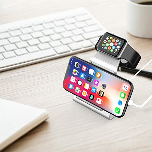 XUNMEJ iWatch Stand Holder, Aluminum NightStand Apple Watch & iPhone Universal Desktop Charging Station for iWatch Series 5 4 3 2 1 iPhone 11/11Pro/11Max/Xs/Xs Max/XR/X/8/8P/7/7Plus(Sliver)