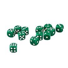 50 x 12mm Opaque Six Sided Spot Dice Games D6 D&D RPG Green