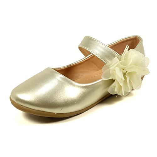 (Nova Utopia Toddler Little Girls Flower Girl Dress Ballet Mary Jane Bow Flat Shoes,NF Utopia Girl NFGF061New Gold 8 )