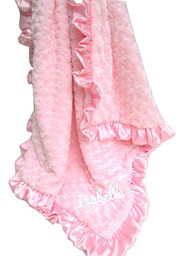 MinkyBabyGifts Personalized Minky Baby Blanket Pink Rosebud Swirl, Other Colors Available
