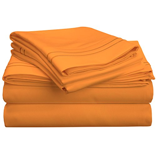 (Superior 800 Thread Count Egyptian Cotton, Deep Pocket, Single Ply, Embroidered Queen Bed Sheet Set, Pumpkin,)