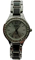 XOXO Women's XO5317 Two-Tone Silver and Black Rhinestone Accented Watch