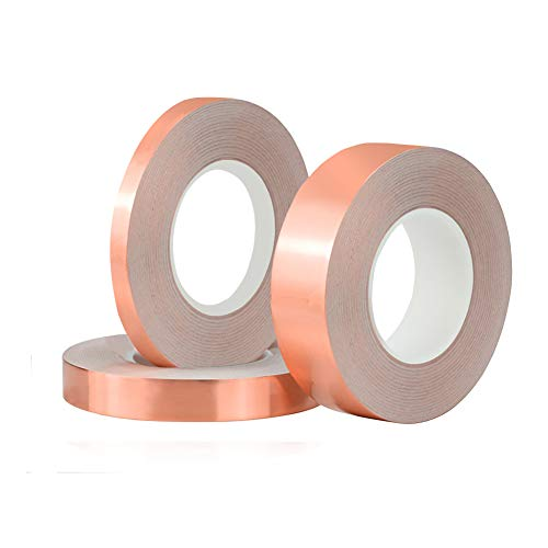 3 Pack Copper Foil Tape,Single-Sided Conductive Copper Tape for EMI Shielding, Stained Glass, Art Work, Soldering, Electrical Repairs, Grounding(6 mm, 12 mm,24 mm)