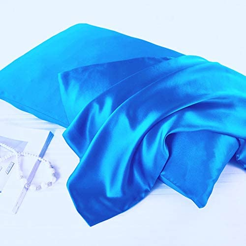 Blue, Queen Pillowcase Covers with Envelope Closure -Cool and Easy to Wash -Set of 2 20x30 Silky Satin Pillowcases Set for Hair Only Pillow Cover No Insert