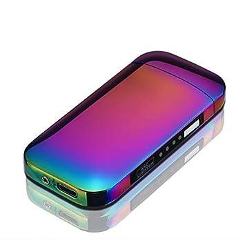 SHUNING Encendedor de Doble Arco, Mechero USB Eléctrico sin Llama, Encendedor Recargable y Resistente al Viento de (Rainbow): Amazon.es: Hogar