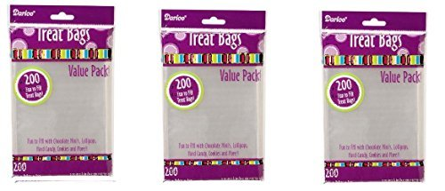 Darice 28-002V 3-3/4-Inch-by- 6-Inch Clear Treat Bag 3 pack totals 600-Pieces by Darice