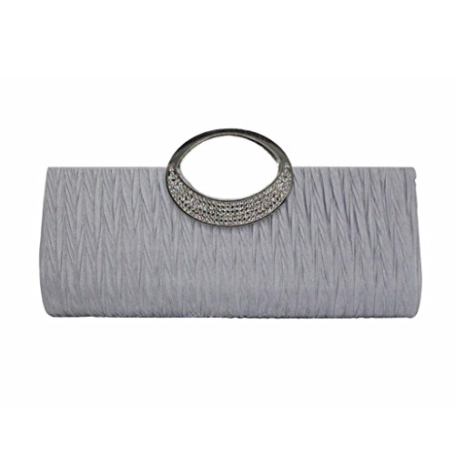 YJYdada Women Elegant Evening Wedding Purse Clutch Rhinestone Satin Pleated Handbag (Sliver) by YJYdada