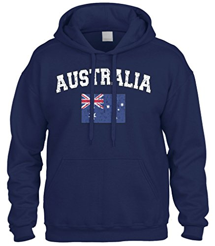 Cybertela Faded Distressed Australia Flag Sweatshirt Hoodie Hoody (Navy Blue, Large)