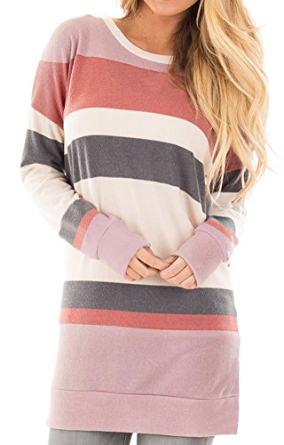 Colour Block Tunic Top - For G and PL Womens Long Sleeve Casual Sweatshirt Cotton Striped Color Block Tunic Tops Red XL