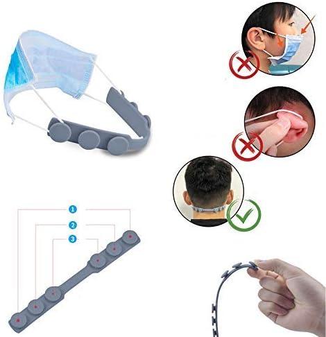 Maske Ohrenschützer Maskenband Extender Silikon Ohrschnur Anpassung 5er Pack (Dot Buckle 5er Pack), schwarz