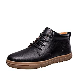 Modern Fantasy Mens Leisure Leather Fur Soft Rubber Short Boot Shoes Size 9.5 US Black