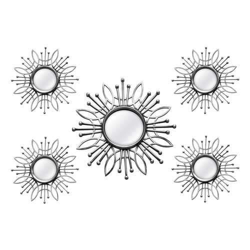 Stratton Home Decor SHD0257 5 Piece Burst Wall Mirror, Silver, 15.50 W X 0.79 D X 15.50 H,