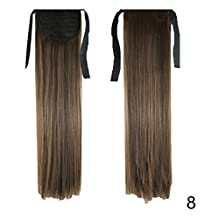 """PrettyWit 22"""" Tie up Straight Pony Tail Ponytail Hair Extensions Hairpiece Wig-Medium Ash Brown 8"""