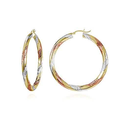14K Gold Tri Color Polished & Diamond-Cut 4x50mm Lightweight Large Round Hoop Earrings by Hoops & Loops