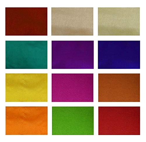 Pack of 15 Different Color Poly Dupion Silk Fabric Swatches Craft Art Patchwork Quilting Bag DIY Doll Cloth 10