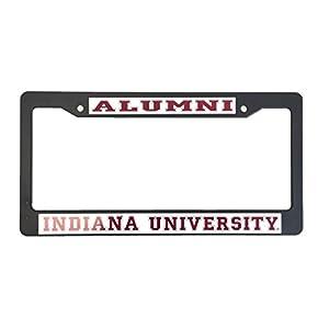 Indiana University Alumni Black Plastic License Plate Frame For Front Back of Car
