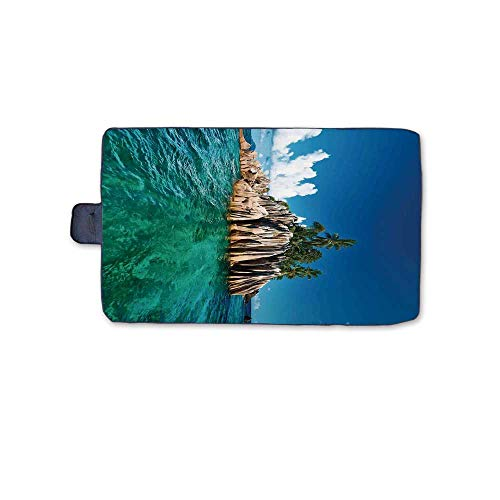 (Island Stylish Picnic Blanket,St. Pierre Island at Seychelles Natural Granite Relaxation Mediterranean Mat for Picnics Beaches Camping,58