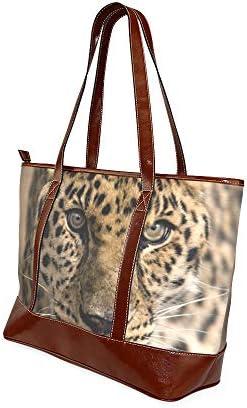 Léopard Close Up Animal Mobile X Office Tote Bag Sacs À Main Filles Grande Capacité Imprimé Imprimé Sac À Bandoulière Avec Fermeture À Glissière Top-poignée