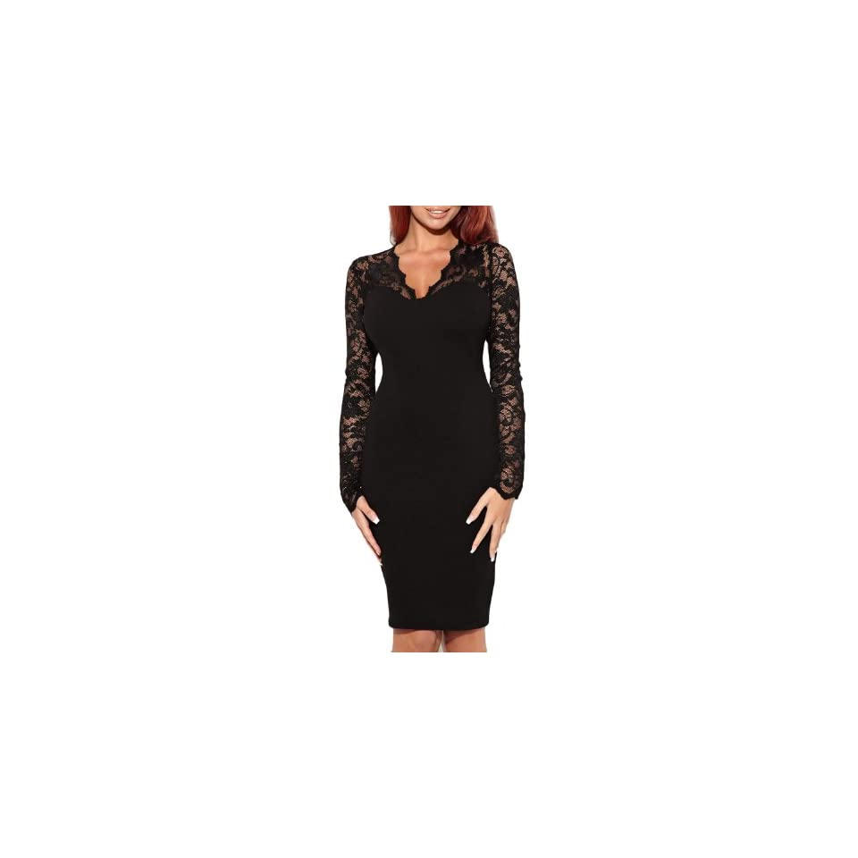 Miusol Womens Sexy Lace Dress V Neck Slim Cocktail Party Dresses,Ship From USA (Miusol Small/US Size 4, Long sleeve black)