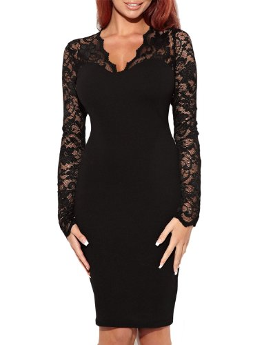 Miusol Women's Floral Lace Long Sleeves Bridesmaid Midi Dress, Black Size Large - Bridesmaid Womens Long Sleeve