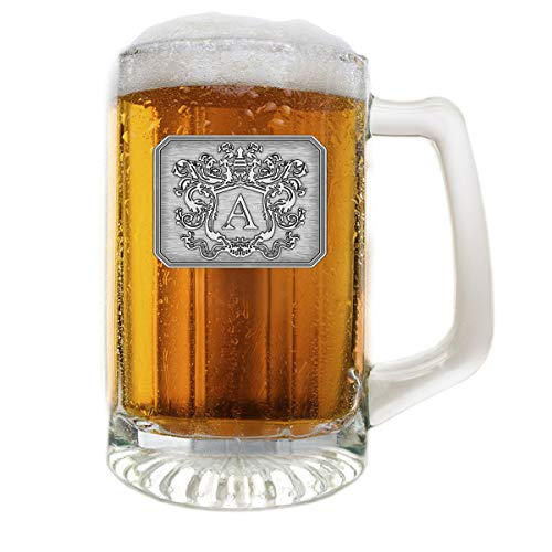 Fine Occasion Glass Beer Pub Mug Monogram Initial Pewter Engraved Crest with Letter A, 25 oz