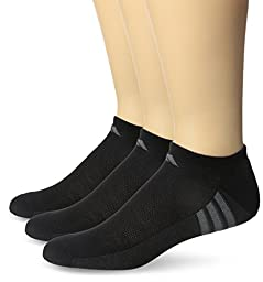 adidas Men\'s ClimaCool Superlite 3-Pack No Show Socks, Black/Graphite Grey/Medium Lead, X-Large,fits shoe size 12-15