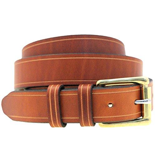Men 1 1/4 Light Brown Show Harness Leather Belt Saddle Groove NickelFree Size 34 - Saddle Tooled Oil Light