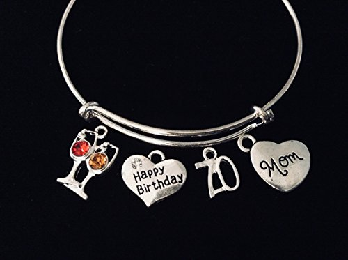 (Happy 70th Birthday Jewelry Mom Expandable Silver Charm Bracelet Adjustable Bangle One Size Fits All Gift Crystal Red and White Wine Glass 70)