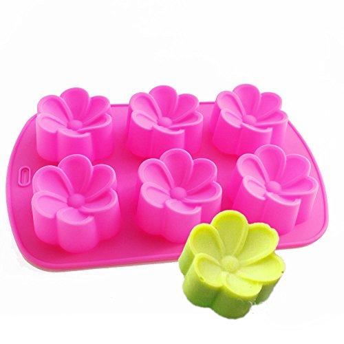 X-Haibei New Round Begonia Flower Soap Chocolate Muffin Jello Gelatin Silicone Mold (2 Oz Soap Mold)