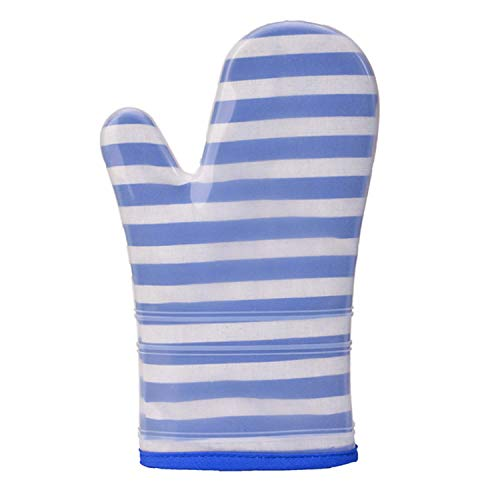 (Kitchen gloves Silicone Oven Mitts Heat Resistant Potholders Pad Kitchen BBQ Cooking Gloves Household Supplies Gloves (Color : Blue, Size :)