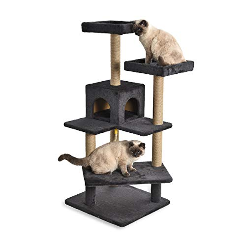 AmazonBasics Multi Platform Steps Cat Tree Tower - 24 x 22 x 51 Inches, Dark Grey