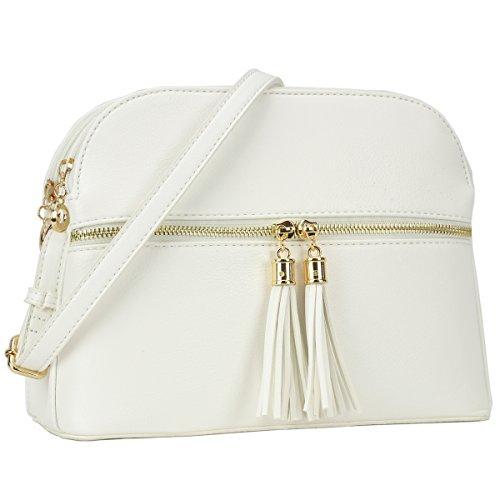 Lightweight Multi Zipper Designer Women Crossbody Bags Travel Shoulder Messenger Purse Medium Size Shoulder Bags for All Seasons (MKP-JC-LP050-WT) by Maya Karis Purse