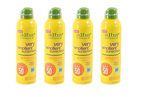 Lot of 4 Alba Botanica Very Emollient, Kids Spray Sunscreen SPF 50, 6 Ounce