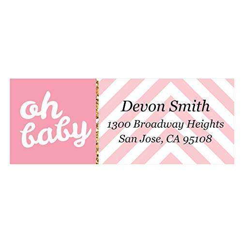 - Custom Hello Little One - Pink and Gold - Personalized Girl Baby Shower Return Address Labels - Set of 30