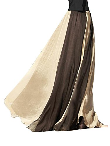 OCHENTA Women's Giant Swing Full Circle Skirt Flowing Maxi Skirt -Milk (Chiffon Circle Skirt)