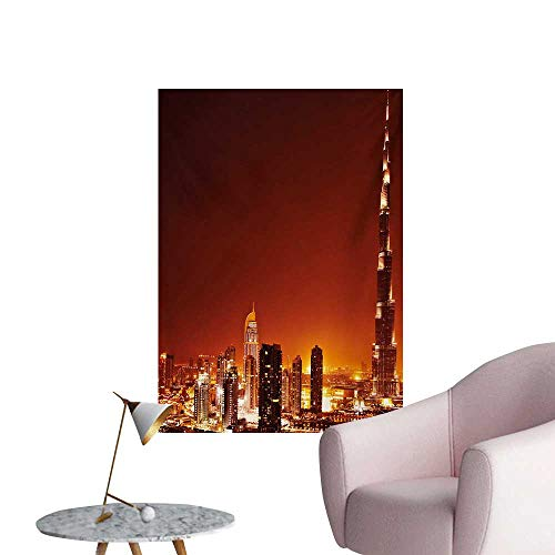 Anzhutwelve Landscape Photographic Wallpaper Arabic Dubai Downtown with Cityscape Skyscrapers Sunset Middle East City PhotoMulticolor W20 xL28 The Office Poster