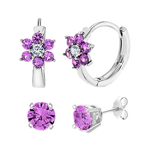 18K White Gold Over Sterling Silver Cubic Zirconia Stud & Flower Earring Gift Set (Purple) (Cupid Bow And Feathers)