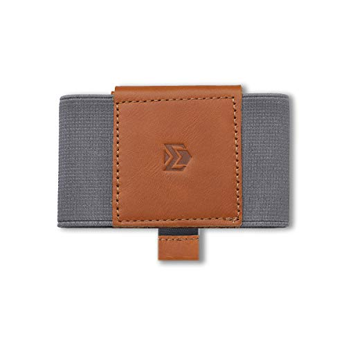 Ebax Mens Minimalist Slim Wallet With Elastic Front Pocket Card Holder Wallet (Chocolate, Genuine Leather Version)