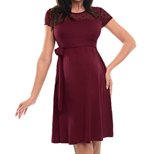 Nihewoo Women Pregnant Dress Lace-up Short Sleeve Dress Knee Length Maternity Dress Maxi Photography Dress for Baby Shower Wine]()