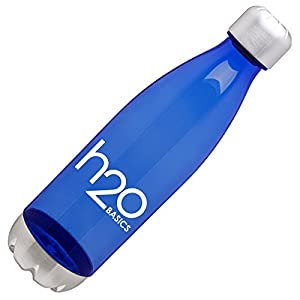 BPA-Free Sport Water Bottles 25 oz, Tritan Non Toxic Plastic, Reusable Flask with Stainless Steel Leak Proof Twist Off Cap & Steel Base, Cola Bottle Shape (Blue, 25 Ounces)
