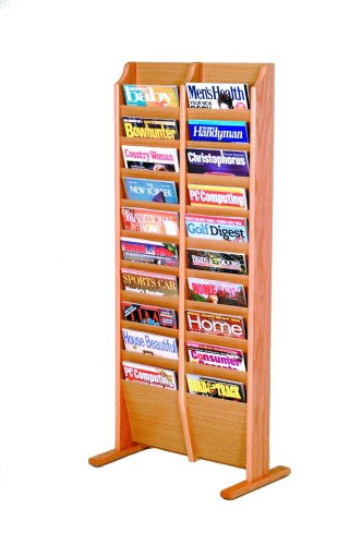 Wooden Mallet 20-Pocket Cascade Free-Standing Magazine Rack, Light Oak