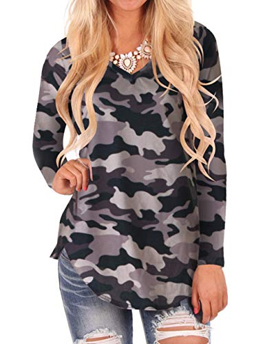 Top Shirt Camouflage (Camo Shirts for Women Long Sleeve Tops V Neck Casual Floral Blouses M)