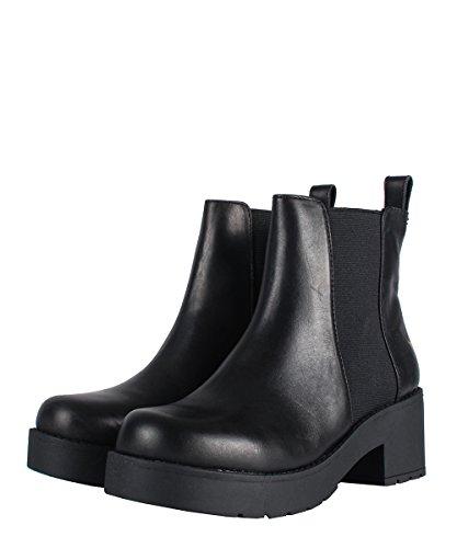 Windsor Smith Eagar Boots Black–Botas negras de piel con elástico negro