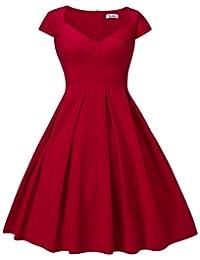 Dilanni Women's 1950s Retro Vintage Cap Sleeve Party Swing Dress