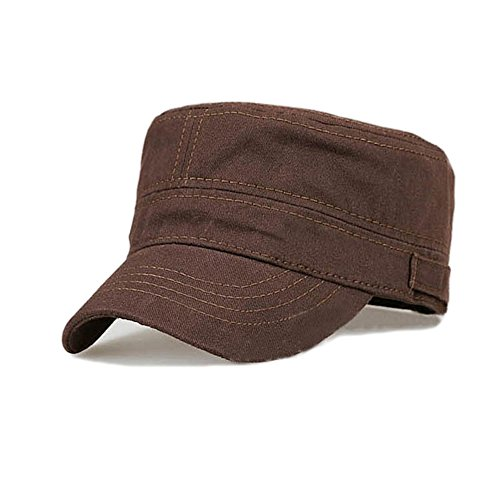 Fasbys Cotton Flat Top Peaked Baseball Twill Army Millitary Corps Hat Cap Visor (Coffee)