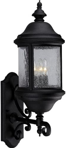 Progress Lighting P5652-31 Traditional Three Light Large Wall Lantern from Ashmore Collection Finish, 8-5 8-Inch Width x 26-1 4-Inch Height, Textured Black
